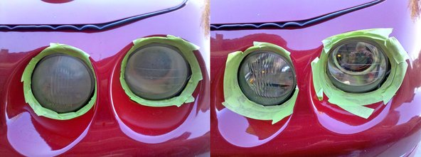Acura Integra - driver's side lights before and after procedure.