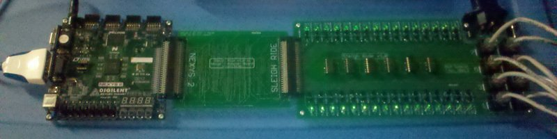 the fpga board on the left receives lighting information from a computer via the serial cable for each of the 32 channels each channel is represented by a