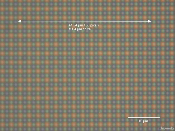 Image of the sensor, showing its pixel density