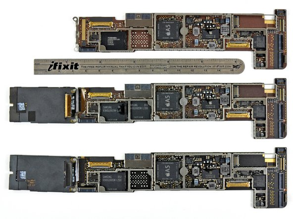 Logic board comparison. From top: Wi-Fi, GSM, and CDMA models.