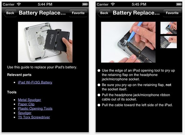 iPhone screenshots of an iPad battery replacement guide.