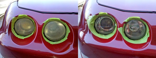 Acura Integra - passenger's side lights before and after procedure.